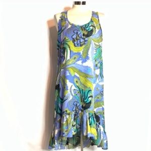 James Coviello silk blend peacock feather dress